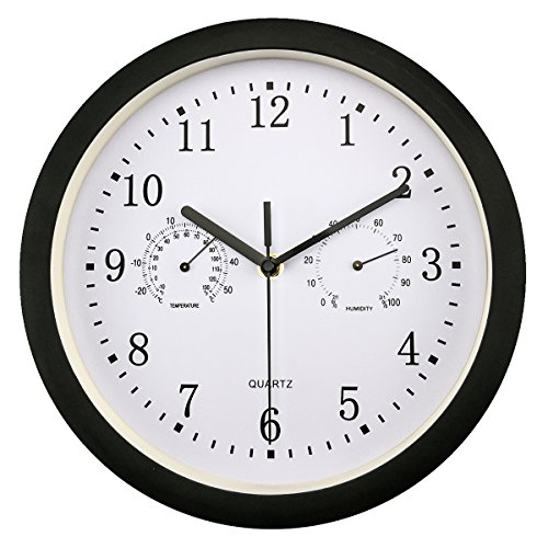 Foxtop Large Indoor Outdoor Wall Clock Universal Quartz Non-Ticking & Silent 10-Inch Clocks with Temperature and Humidity Glass Cover (Black) (Large Outdoor Clocks For Walls)
