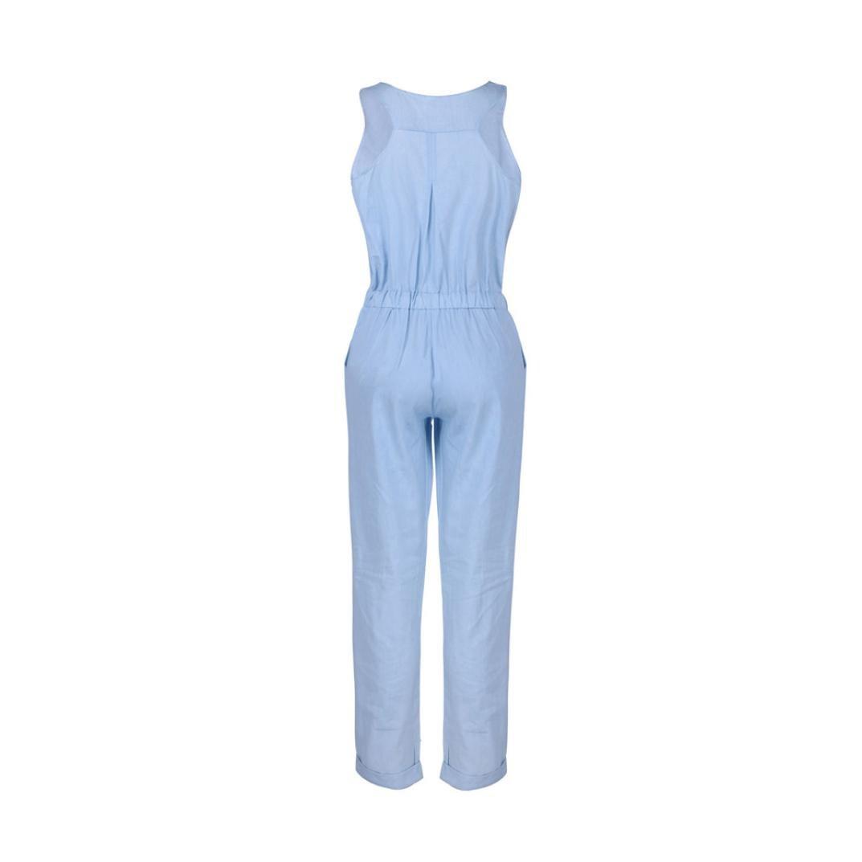 Ansenesna Jumpsuit Damen Sommer Lang Jeans Elegant Weites Bein Overall Romper M/ädchen /Ärmellos Viskose Playsuit