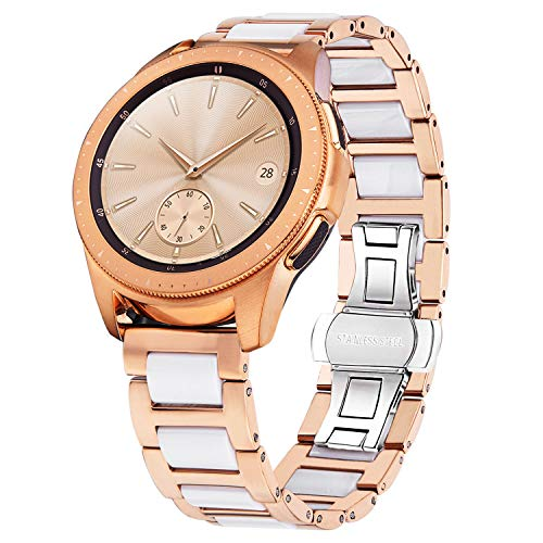 - V-MORO Band Compatible with Galaxy Watch 42mm Bands Rose Gold Women 20mm Jewelry Metal Stainless Steel with Ceramic Replacement for Samsung Galaxy Watch 42mm SM-R810/Gear S2 Classic R732/R735