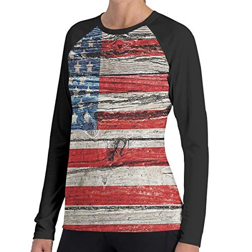 Women's Comfort Long Sleeve T-Shirt,Painted Old Wooden Panel Wall Looking Freedom Symbol Pattern Blouse Tops ()