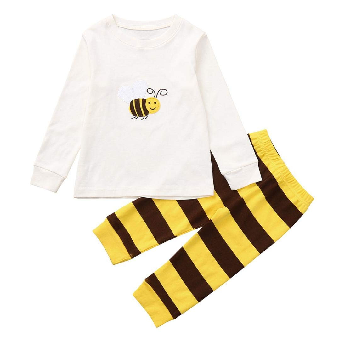 Little Kids Autumn Cartoon Sets,Jchen(TM) Toddler Baby Kids Boy Girl Long Sleeve Cartoon Bee Tops Pants Outfits for 1-7 Y (Age: 1-2 T)