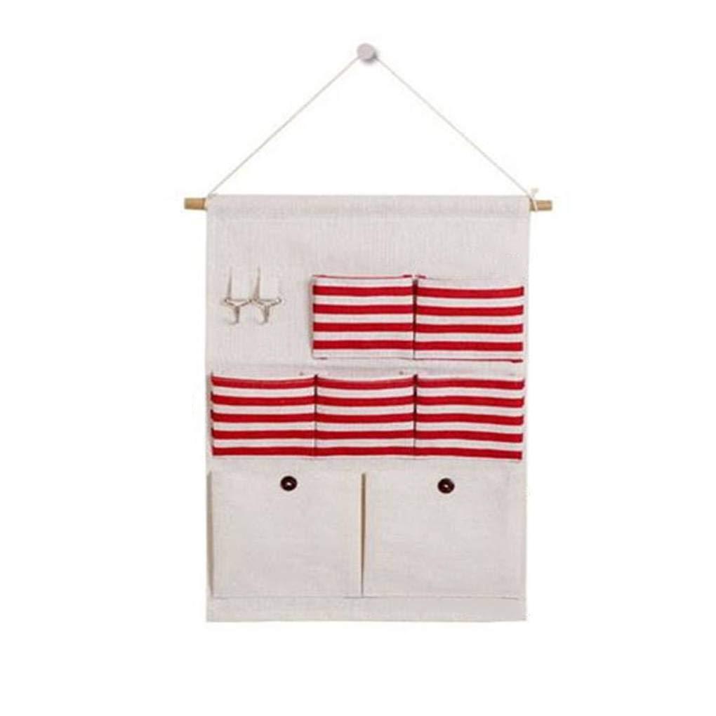 Bodbii Inicio de tela de algod/ón de lino pared puerta colgando bolsa de almacenamiento de bolsillo de la caja del organizador del hogar raya Puerta bolsillo de la bolsa