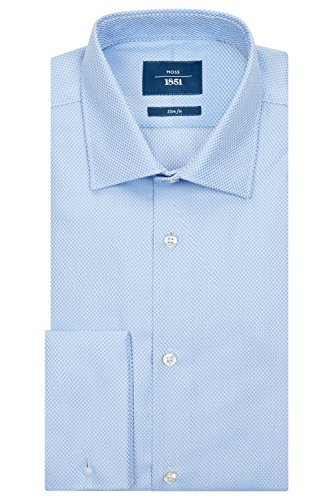 Moss 1851 Men's Slim Fit Sky and White Double Cuff Basket Weave Shirt 20 Blue (Basket Dress Wedding Weave)