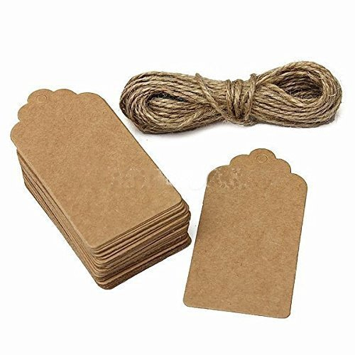 VNDEFUL 100 PCS 10 cm x 5 cm Beautiful Christmas Gift Tags Brown Kraft Paper Hang Tags Labels with Free Cut Strings for Gifts, Crafts & Price Tags for Wine, Decor, Weddings Scallop Shape