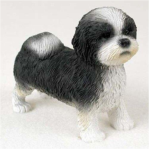 Shih Tzu, Black/White, Sport Cut Original Dog Figurine (4in-5in)