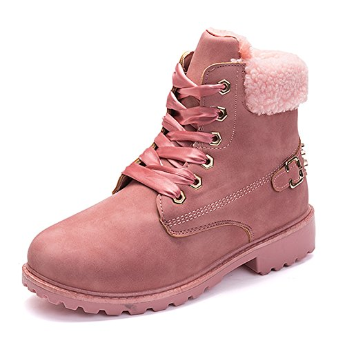 Ben Sports Women's Ankle Boots Fur Lining Rivets Snow Booties Lace up Short Combat Boots For Winter Fall,With 2 Pairs Of Shoelaces Pink