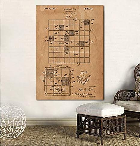 UDIYXC Juego de Mesa Scrabble Poster Impresión en Lienzo Habitación Decoración Arte de la Pared Decoración para el hogar Sin Marco, 80x100cm: Amazon.es: Hogar
