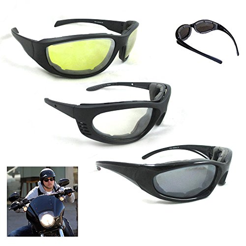 3 Pair Combo Padded Motorcycle Sunglasses Wind Resistant ...