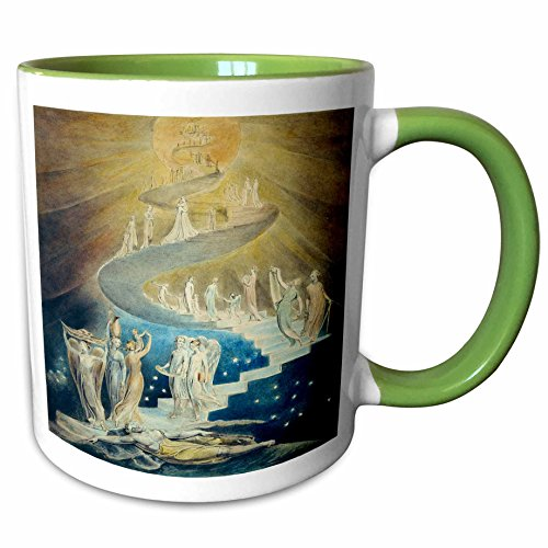 3dRose Florene - Famous Art - Print of Jacobs Ladder Painting - 11oz Two-Tone Green Mug (mug_194661_7)