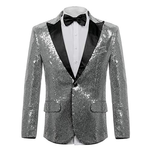 WEEN CHARM Men's Shiny Sequins Dress Suit Jacket Floral Party Dinner Jacket Wedding Blazer Prom Tuxedo Silver