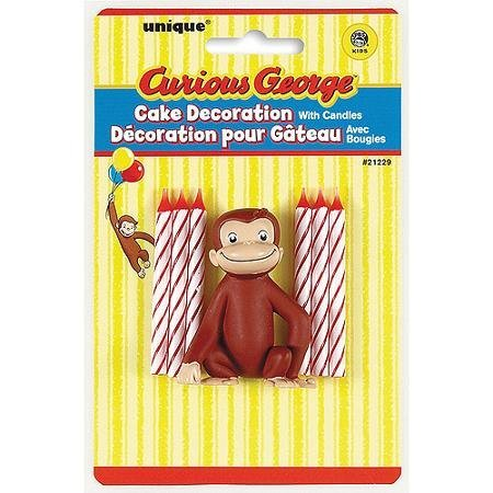 (Unique Industry, Curious George Candles and Cake Topper, 6-piece Set)