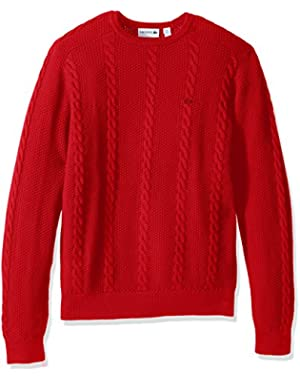 Men's Long Sleeve Resort Cotton Cable Crewneck