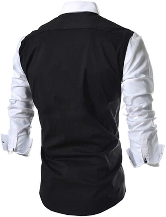 Mens Shirt Mens Regular Fit Lapel Neck Dress Shirt Long Sleeve Buttons Shirts with Pocket Fit Dress Shirt Casual Shirt Color : Gray, Size : XL