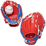 Rawlings YOUTH GLOVE 9'' Tee Ball RIGHT HAND THROW Red/Blue (PL90SN)