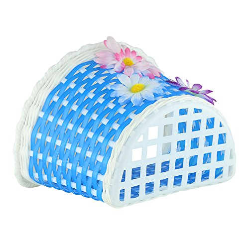 Farway 1PC Kid's Girl's Bike Bicycle Basket Front Decoration with 3 Pretty Flowers (8.7 x 5.9 x 5.9 inch)