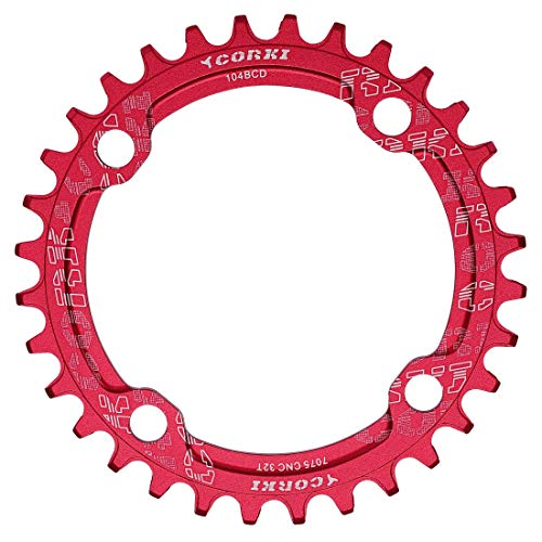 - corki Single Speed Narrow Wide Chainring 36T Round for 104 BCD Crankset Red