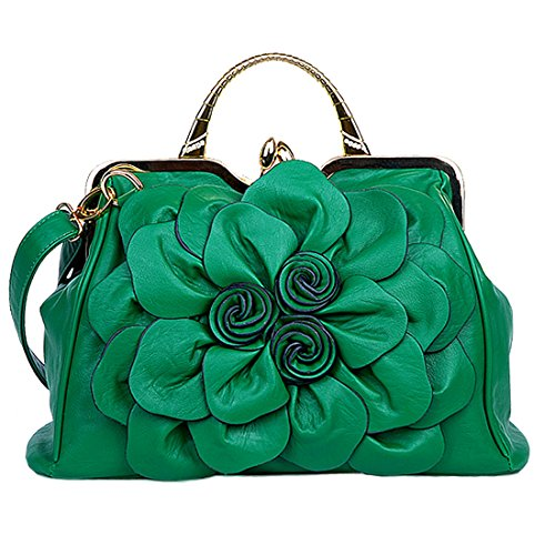 Party Handbags Totes Women's Flower Green 3D Clutches Satchel Ethnic QIAODUO with Crossbody Formal Dark Evening Bags nSUXB