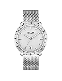 Bulova Accutron II Unisex UHF Watch with Grey Dial Analogue Display and Silver Stainless Steel Bracelet - 96B206