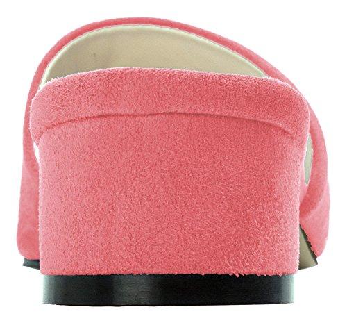 Annakastle Kvinna Färgad Mule Toffel Klack Sandal Faux Mocka - Steg