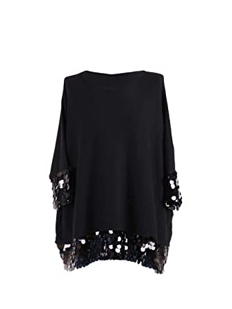 f154c47c819 Ladies Italian Sequin Sleeves Knitted Tunic Top Women Lagenlook Top  PlusSize (Black): Amazon.co.uk: Clothing