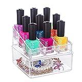 Orm D Nail Polish Choice Fun Acrylic 2 Tier Makeup Organizer Nail Polish Lipstick Display Cosmetic Storage Box with 9 Lattices Transparent QFJJSN-NSF-3304