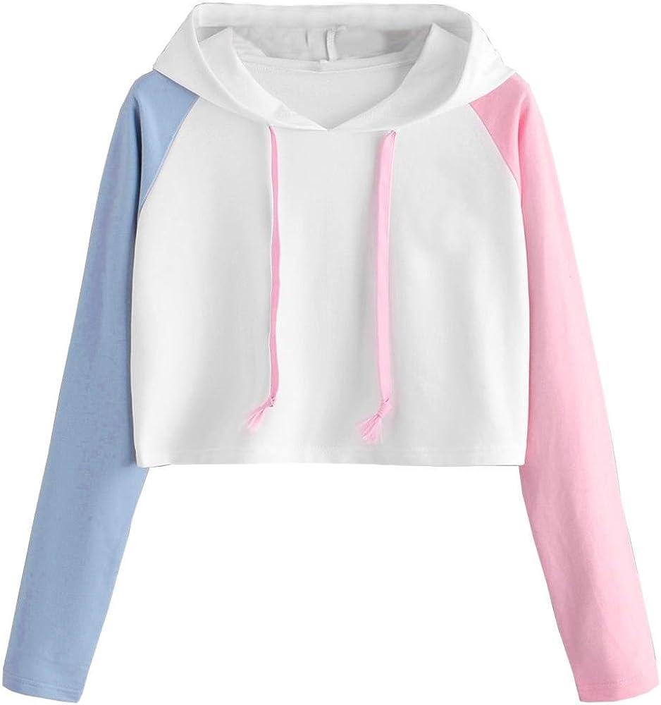 d1e61aac Girl Hoodie Crop Top for Women Asymmetrical Long Sleeve Shirt Cute Blouse  Casual White