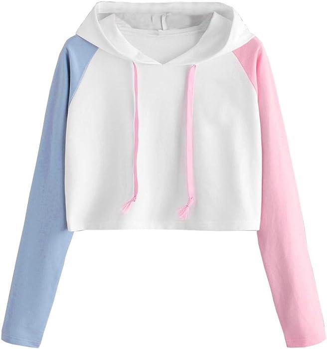 ee64c70caaea0 Girl Hoodie Crop Top for Women Asymmetrical Long Sleeve Shirt Cute Blouse  Casual White
