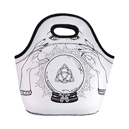 Semtomn Neoprene Lunch Tote Bag Magic Crystal Ball Triquetra Trinity Knot in Hands Reusable Cooler Bags Insulated Thermal Picnic Handbag for Travel,School,Outdoors, Work]()