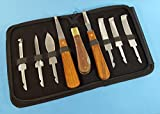 Set of 8 Hoof Knife Knives Farrier Equine Horse Sheep Stainless Steel Blade Polished Wooden Handle + Leatherette Zipper Case
