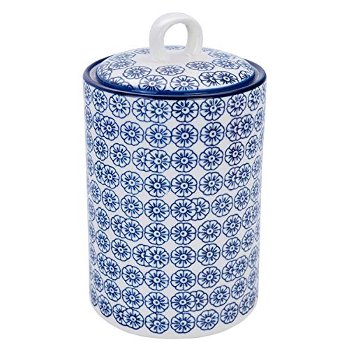 (Nicola Spring Patterned Porcelain Kitchen Utensil Holder Pot - Blue Flower Print Design)