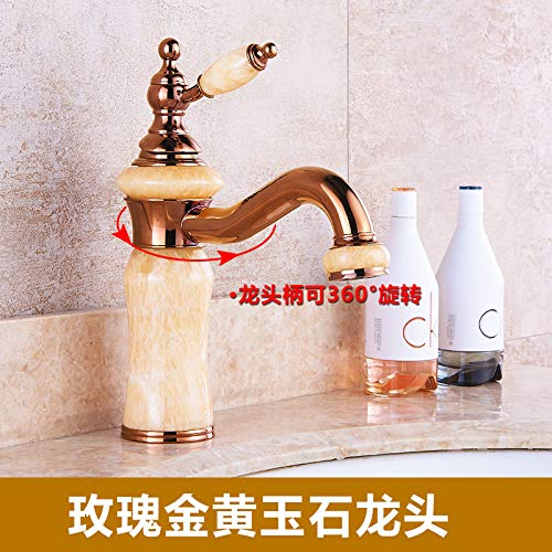 9 LHbox Basin Mixer Tap Bathroom Sink Faucet Euro-copper faucet hot and cold jade antique golden basin sink vanity table basin sinks, antique pink gold coffee mixer C