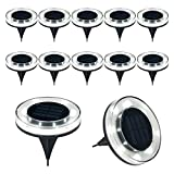 CYBERDAX Solar Disk Lights, Upgrade Outdoor 100LM 8 LED Solar In Ground Lights for Lawn, Garden, Driveway, Pathway (Cool White, 12 Pack)