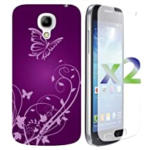 Exian S4MINI008_SP Samsung Galaxy S4 Mini Screen Guards x2 and TPU Case Flowers and Butterflies-Retail Packaging