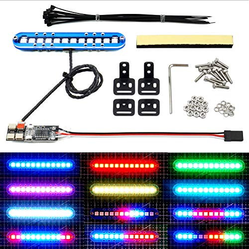 RC LED Light Bar Roof Lamp Headlight Tail Light Kit Bumper Light Compatible with Traxxas RC Car Truck Crawler Tamiya Losi HPI Rustler Axial Police Lights (100mm 1 Bar)