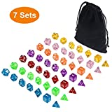 Translucent Polyhedral dice Sets d&d of 49 Pieces, DNDND 7 Sets7-Die Polyhedral Dice Sets with Black Drawstring Bag for Dungeons Dragons Pathfinder D&D RPG (D4, D6, D8, D10, D12, D20 and D%)