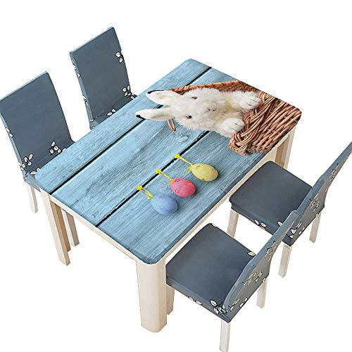 Happy Easter Bunny in a Basket and Eggs on a Blue Wooden Table Top Cover W49 x L88.5 INCH (Elastic Edge) ()