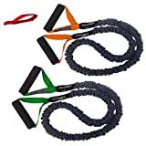 Cheap FitCord Resistance Bands – 4ft Premium Exercise Cords for Home & Gym, Shoulder & Arm Care, Muscle Performance, Sports, Rehab Workout – Set of 2-7lbs (Orange) & 12lbs (Green) – Door Anchor Included