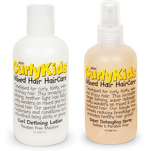 Curlykids Curl Defining Lotion & Super Detangling Spray Combo Set (Best Hair Products For Mixed Kids)