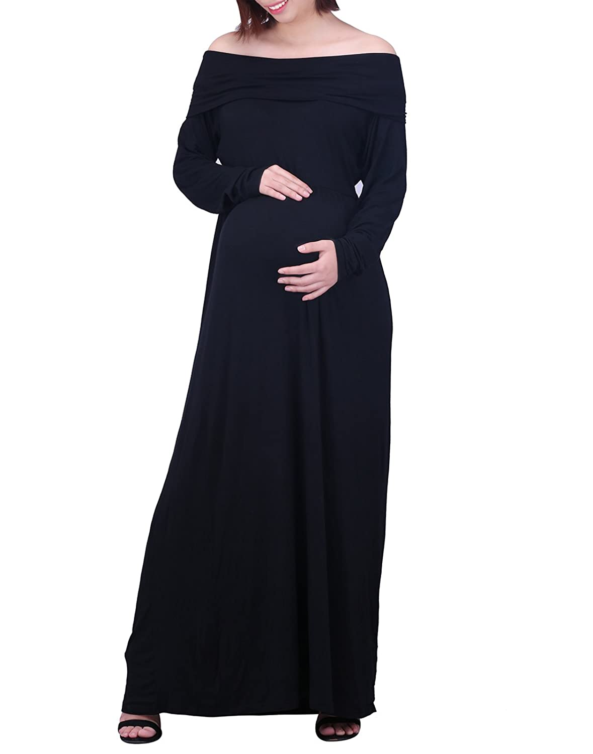 59787293cd50f HDE Women's Off The Shoulder Dress Mother Maternity Cowl Neck Long Sleeve  Maxi: Amazon.co.uk: Clothing