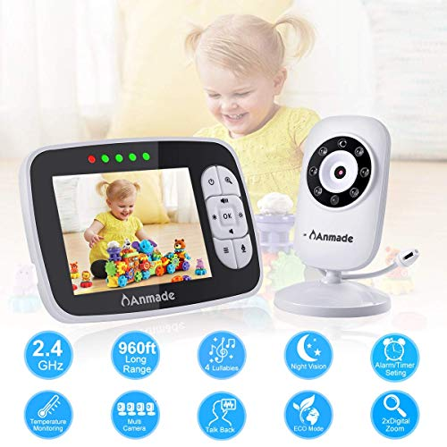 Video Baby Monitor with Camera and Audio, Anmade 3.5 Color Screen 960 feet with Night Vision Support Multi Camera, ECO Mode, Two Way Talk, Temperature Sensor, Built-in Lullabies