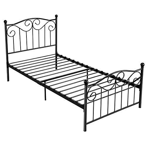 Yaheetech Single Metal Bed Frame Twin Size Vintage Bedstead with Headboard & Footboard, Black