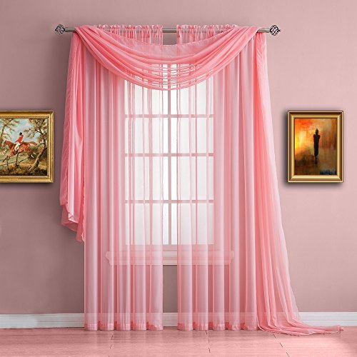 Warm Home Designs Standard Length Rose Pink Sheer Window Scarf. Valance Scarves are 56 X 144 Inches In Size. Great As Window Treatments, Bed Canopy Or For Decorative Project. Color: - Swag Summer