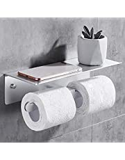 TRUSTLIFE Dubbele Toiletrolhouder met Ruime Opslagplank Lijmlijm Zonder Boren Wandgemonteerde Mobiele Telefoonrolhouder voor Badkamer en Keuken