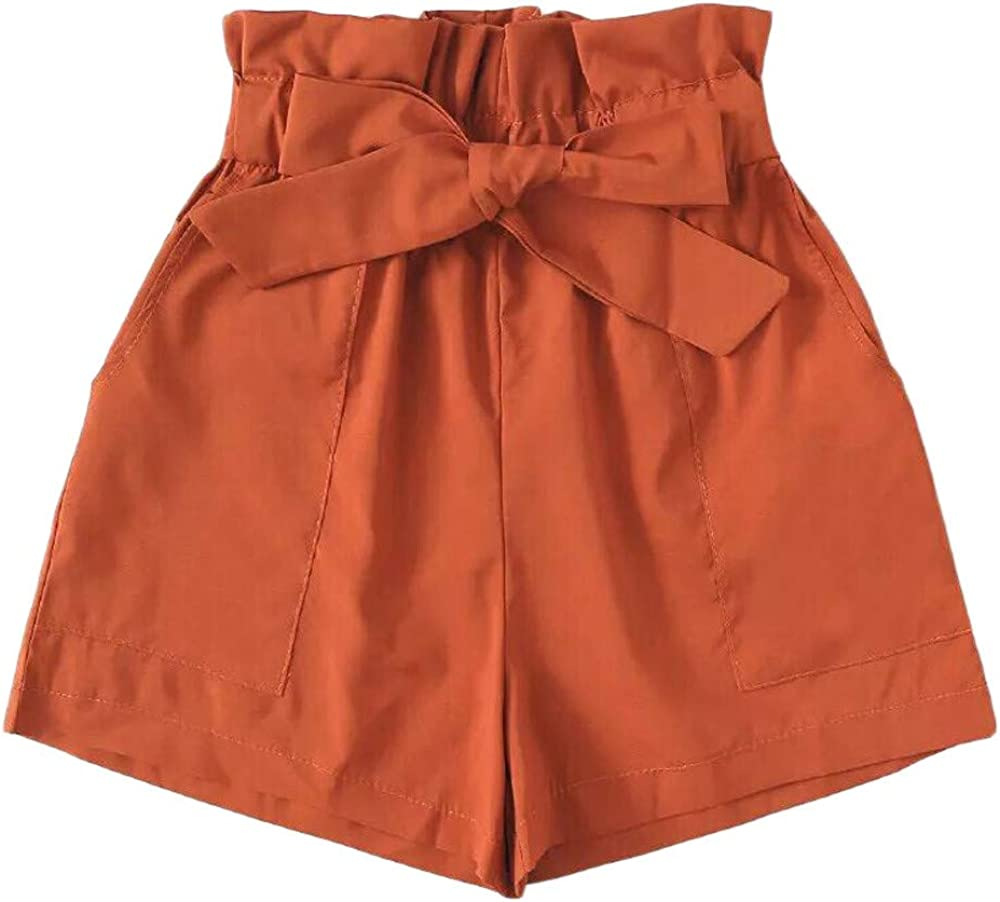 Aniywn Women's Casual Elastic Waist Summer Beach Shorts with Pockets Solid Color Comfy Loose Hot Pants