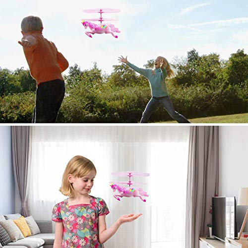 Flying Ball RC Unicorn Toys, Mini RC Flying Helicopter Unicorn Toy Gifts Hand Control Drones for Kids Boys Girls Flying Fairy Unicorn Doll Hovering Aircraft Outdoor Flying Toys Games Birthday Gift by Synmila (Image #5)