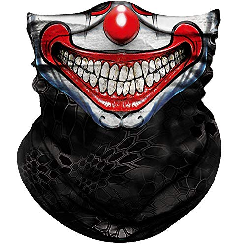 Cool Half Masks (Obacle Face Mask Half for Dust Wind UV Sun Protection Seamless 3D Tube Mask Bandana for Men Women Durable Thin Breathable Tube Mask Motorcycle Riding Bike Sports (Clown Smile Face)