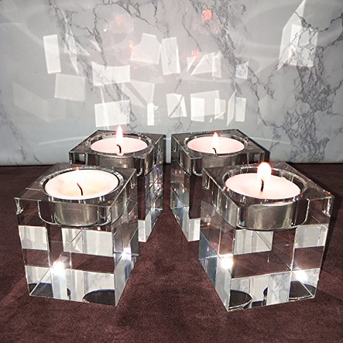 Crystal Candle Holder Set (Amazing Home Candle Holders Set of 4,Elegant Heavy Crystal Cuboid Tealight Holders ,Clear Square Glass Cube Candle Holder for Ceremony Wedding Centerpiece and Home Decor)