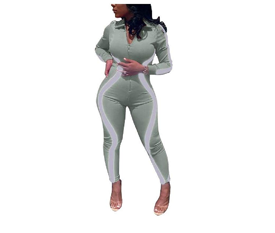 DressU Womens Stitching Zip Up Long Sleeve Stripes Playsuit and Jumpsuits