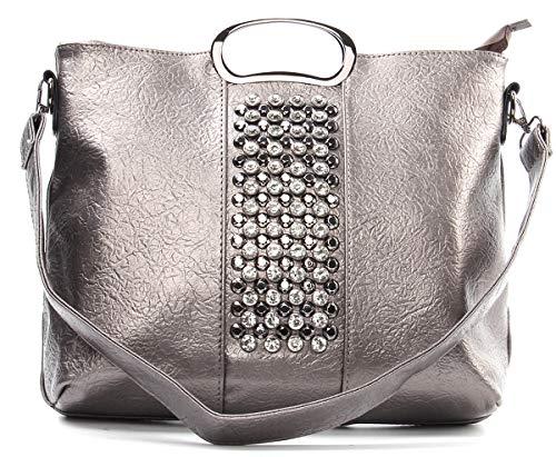 Studded Satchel Tote Handbag - Women Ring ()