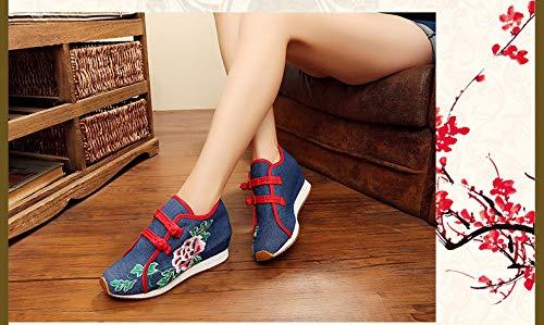 Respirables Ocasionales Zapatillas Deporte Pekín Resistentes Al Desgaste Moda Zapatos De Viejos Azul Bordados Ux4wqfF8F1